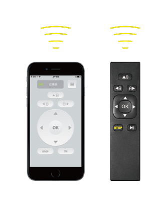 Control via smartphone or remote